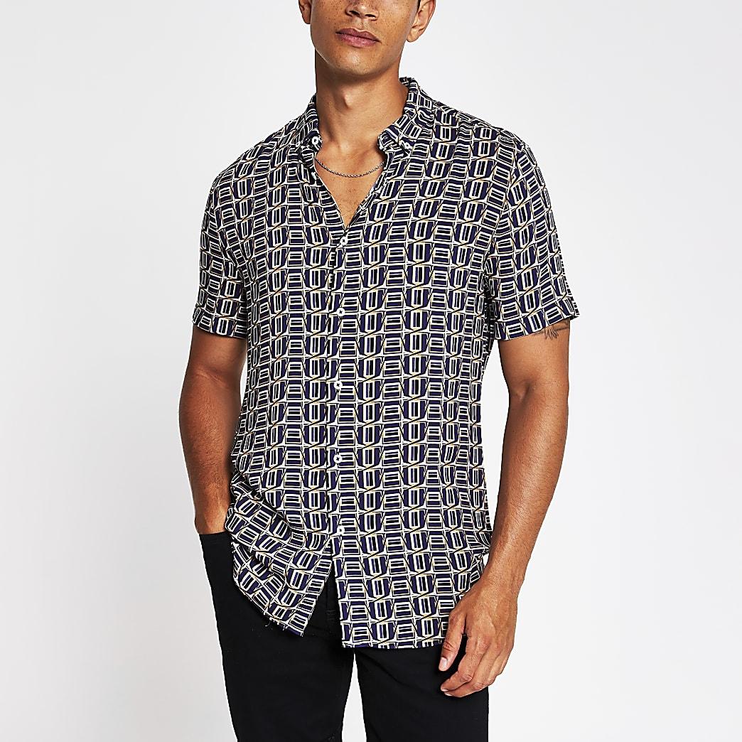 Dark purple geo print slim fit shirt