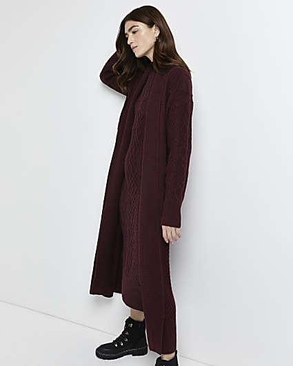 Dark red cable knit longline cardigan