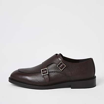 Dark red leather monk strap shoes