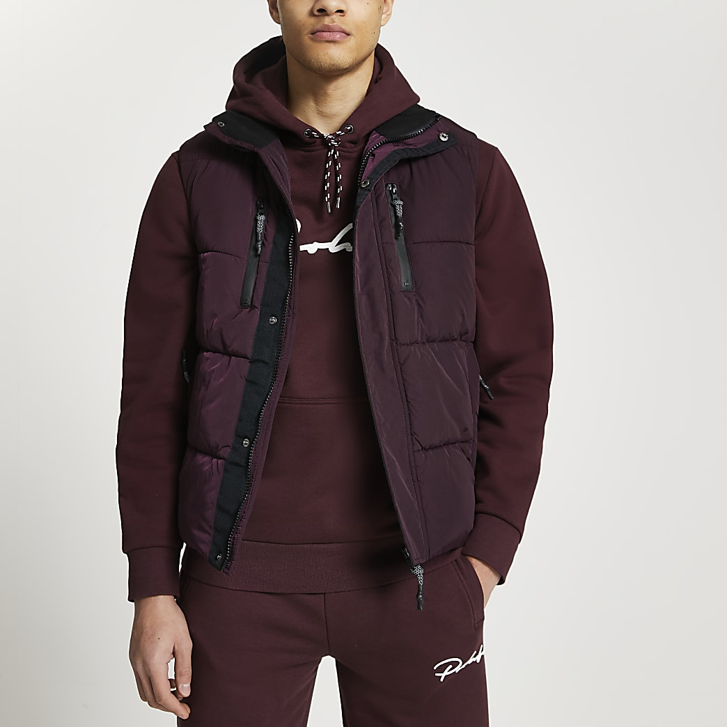 Dark red padded double pocket puffer gilet