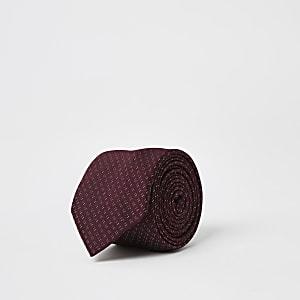 Donkerrode stropdas met stippenprint