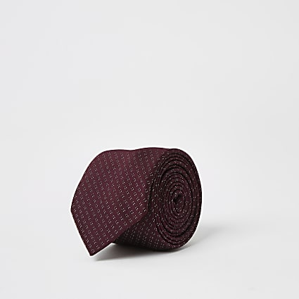 Dark red pin dot printed tie