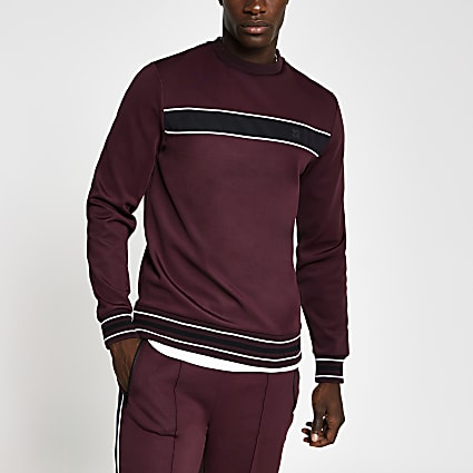 Dark red piped slim fit sweatshirt