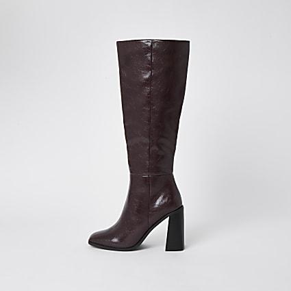 Dark red PU high leg block heel boots