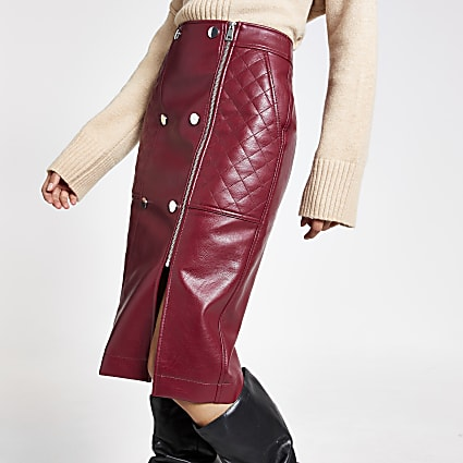 Dark red quilted faux leather midi skirt
