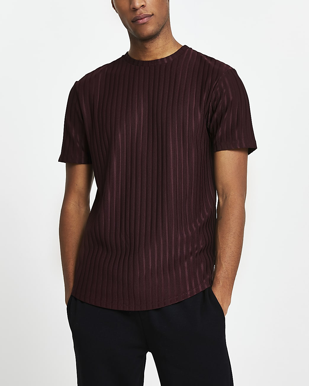 Dark red ribbed slim fit short sleeve t-shirt