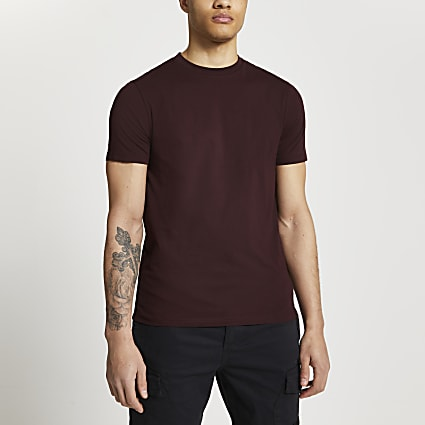 Dark red short sleeve slim fit t-shirt