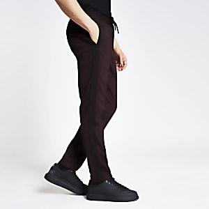 Donkerrode nette skinny-fit joggingbroek met bies aan zijkant
