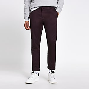 Donkerrode skinny-fit chino