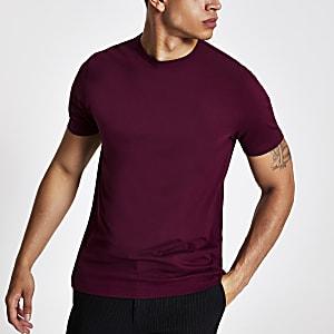 Donkerrood slim-fit T-shirt met ronde hals