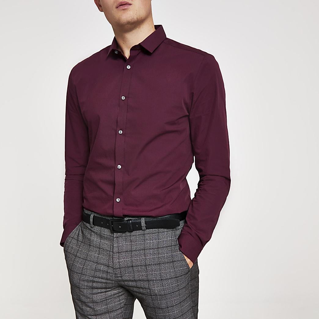 Dunkelrotes, langärmeliges Slim Fit Hemd