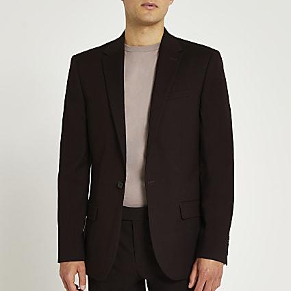 Dark red slim fit suit jacket