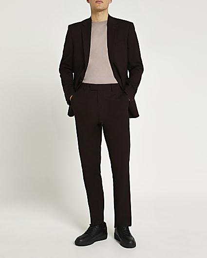 Dark red slim fit suit trousers