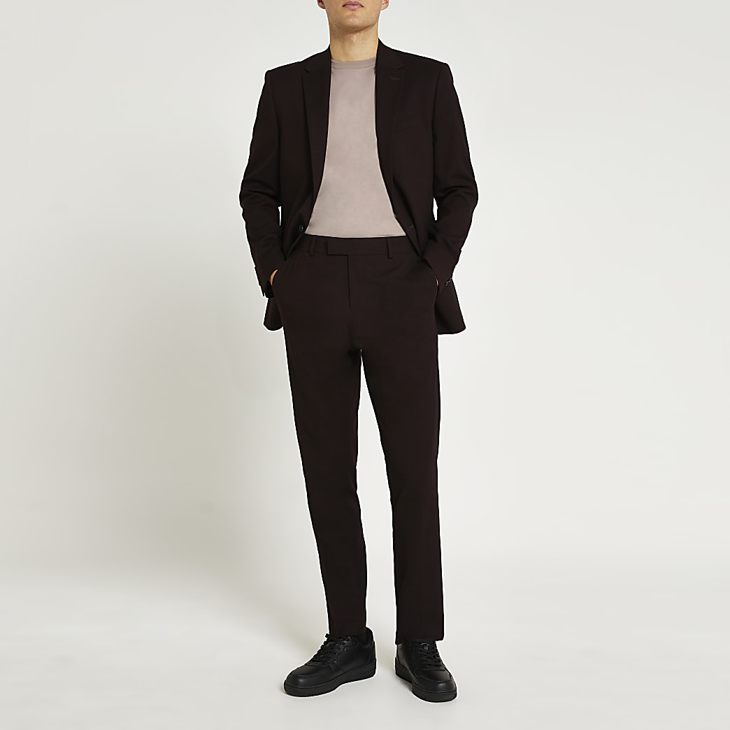 Dark red slim fit suit trousers