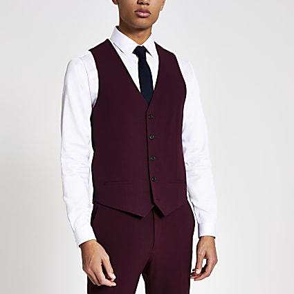 Dark red slim fit suit waistcoat