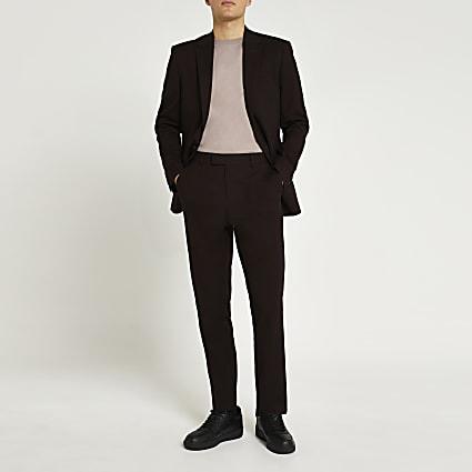 Dark red slim fit trousers