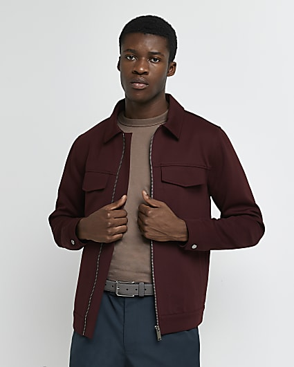 Dark red smart zip shacket