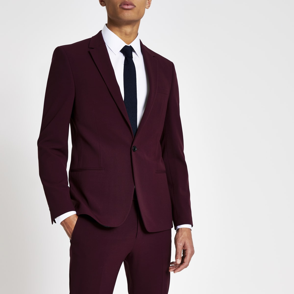 Dark red stretch skinny suit jacket