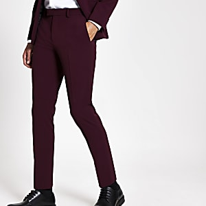 Pantalon de costume skinny stretch rouge foncé