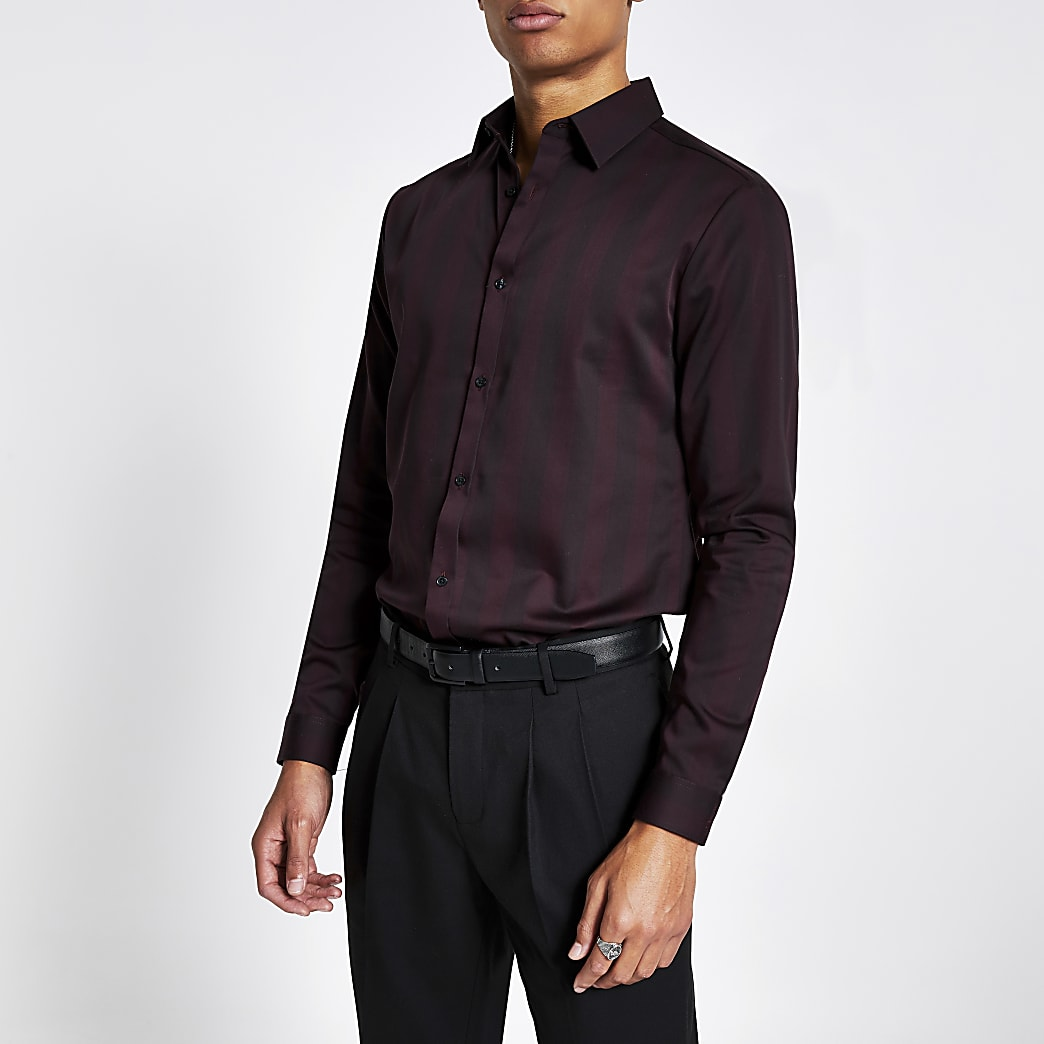 Dark red stripe slim fit premium shirt