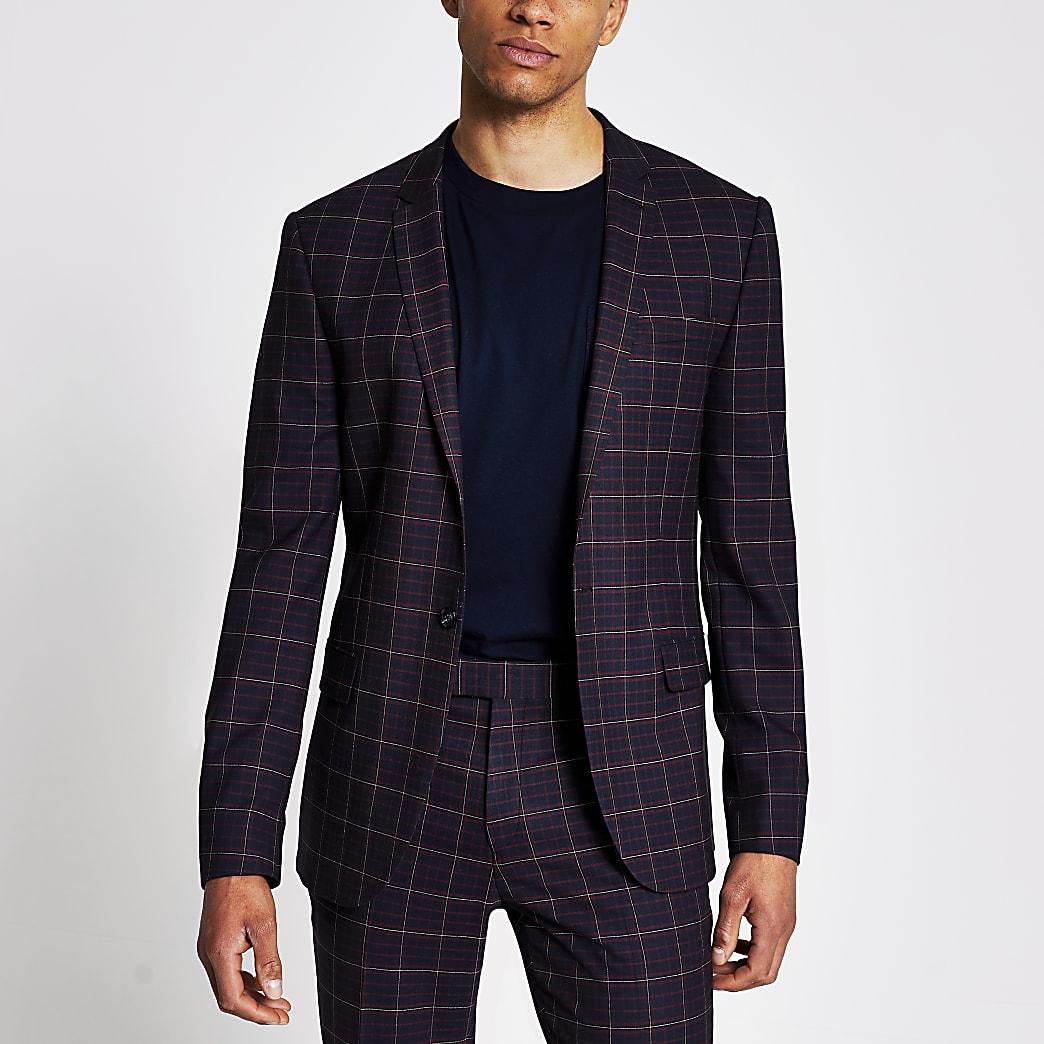 Dark red tartan skinny stretch suit jacket