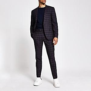 Dark red tartan skinny stretch suit trousers