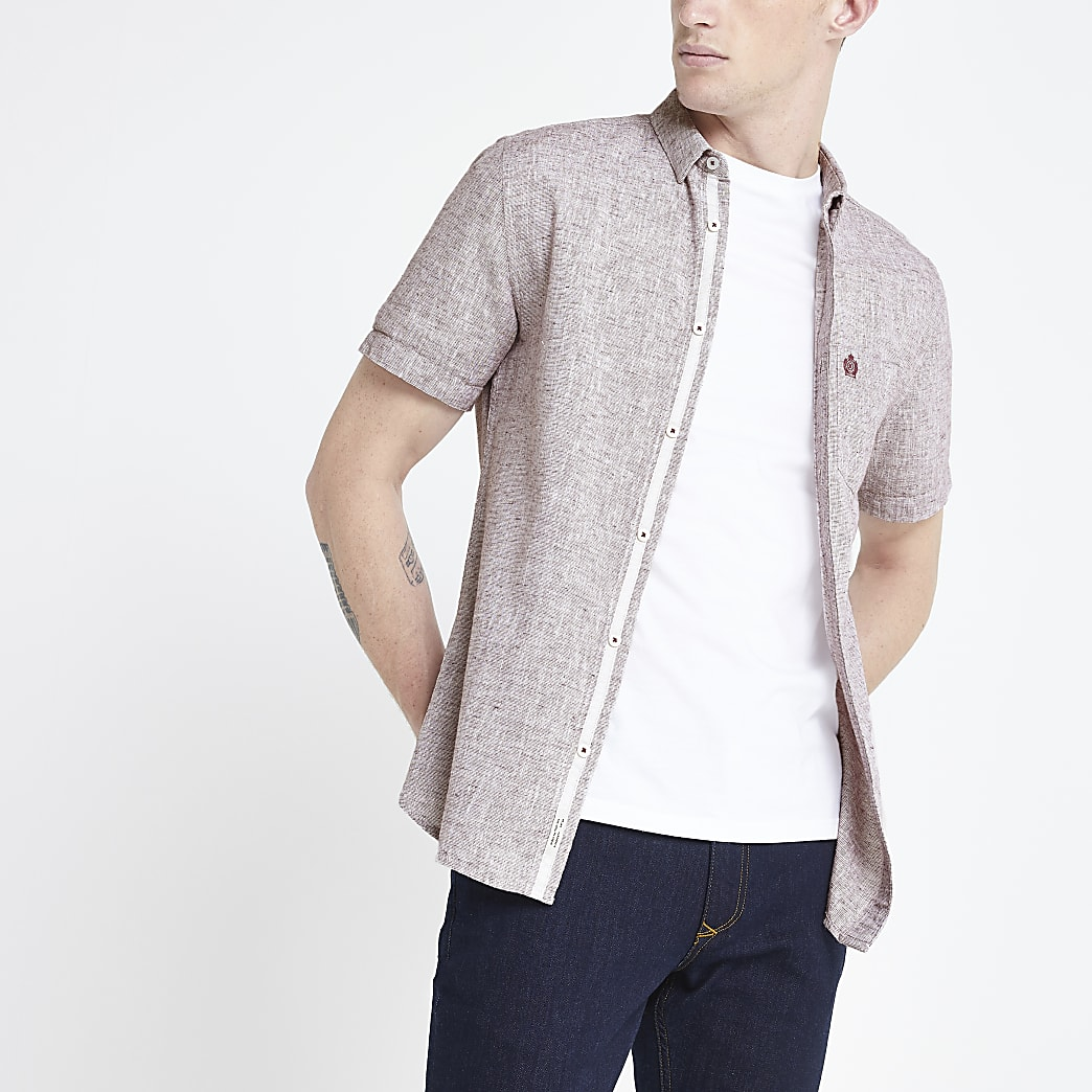 Donkerood slim-fit overhemd met textuur