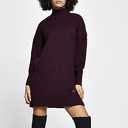 Dark red turtleneck jumper dress