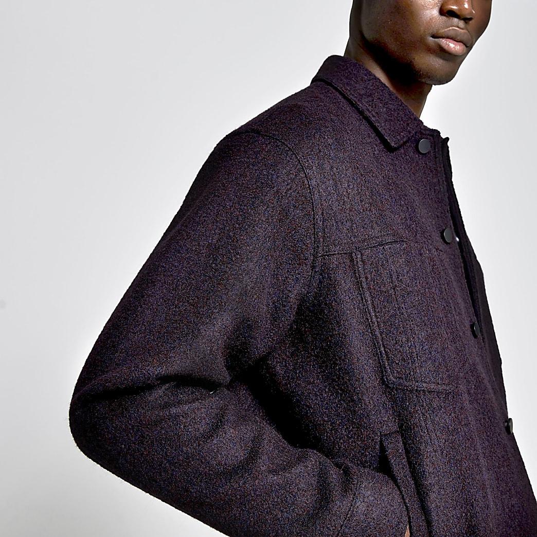 Dark red wool boxy fit jacket