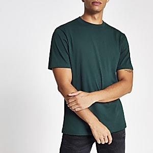 Donkerblauwgroen T-shirt met standaard pasvorm en korte mouwen