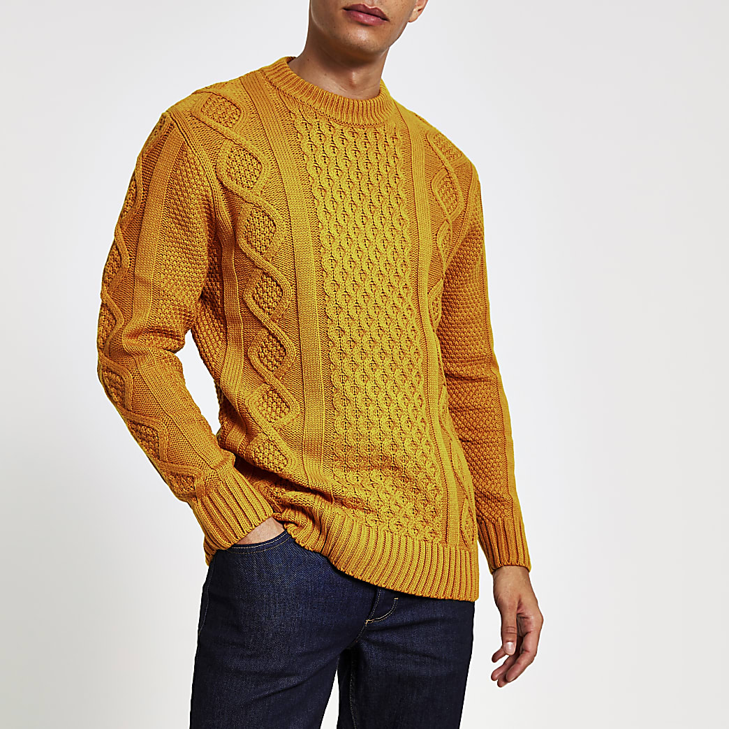 Dark yellow cable knit crew neck jumper