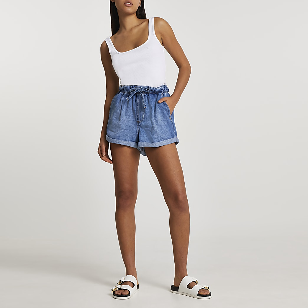 Denim belted high waisted mom shorts