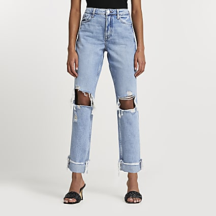 Denim boyfriend ripped jeans