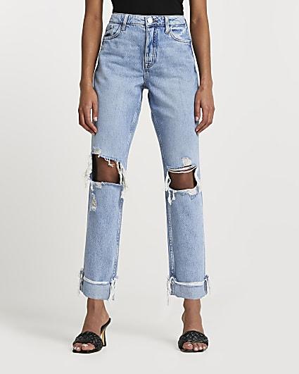 Denim boyfriend ripped jeans