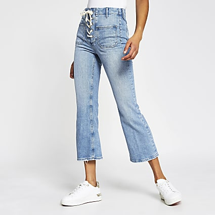 Denim cropped flare high rise jeans
