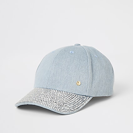 Denim diamante embellished cap