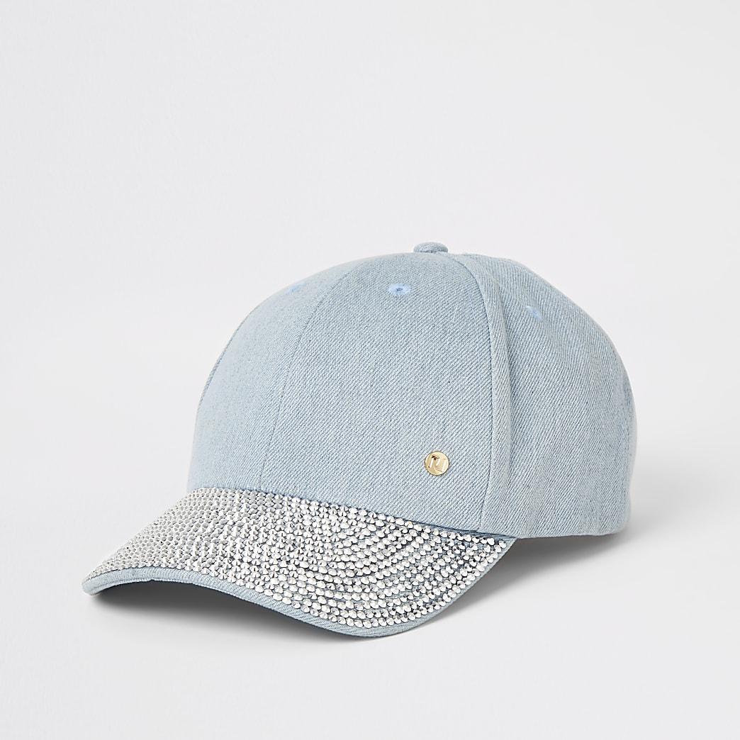 Denim diamante embellished cap