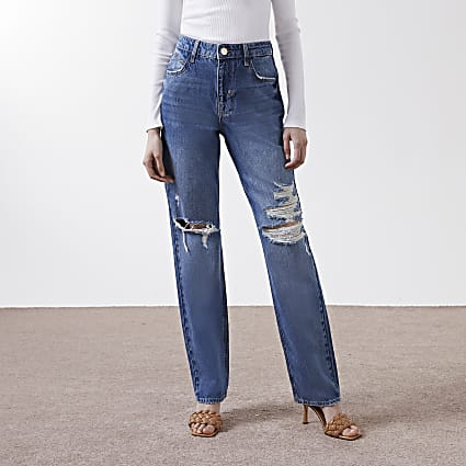 Denim high rise 90s long straight jeans