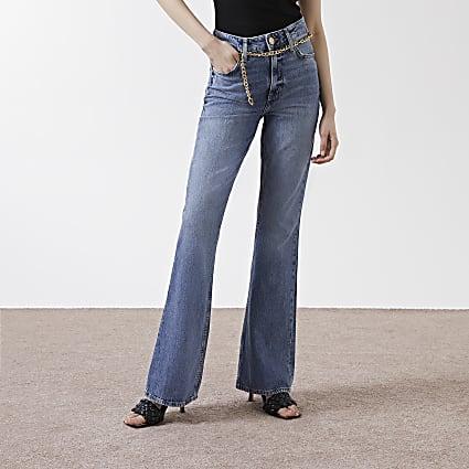 Denim high rise flared jeans