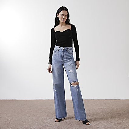 Denim high rise loose leg jeans