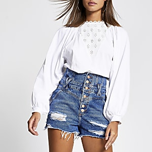 Denim high waist distressed short