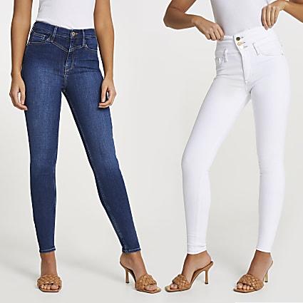 Denim high waisted skinny jeans multipack