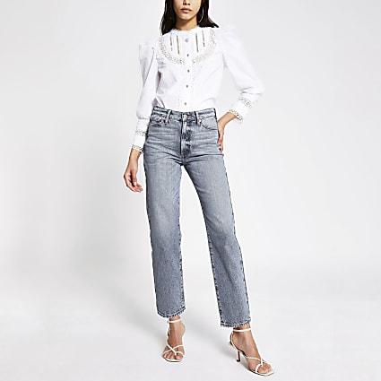 Denim high waisted straight jeans