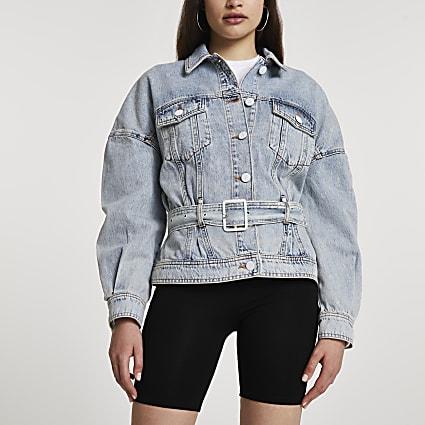 Denim long sleeve belted peplum jacket