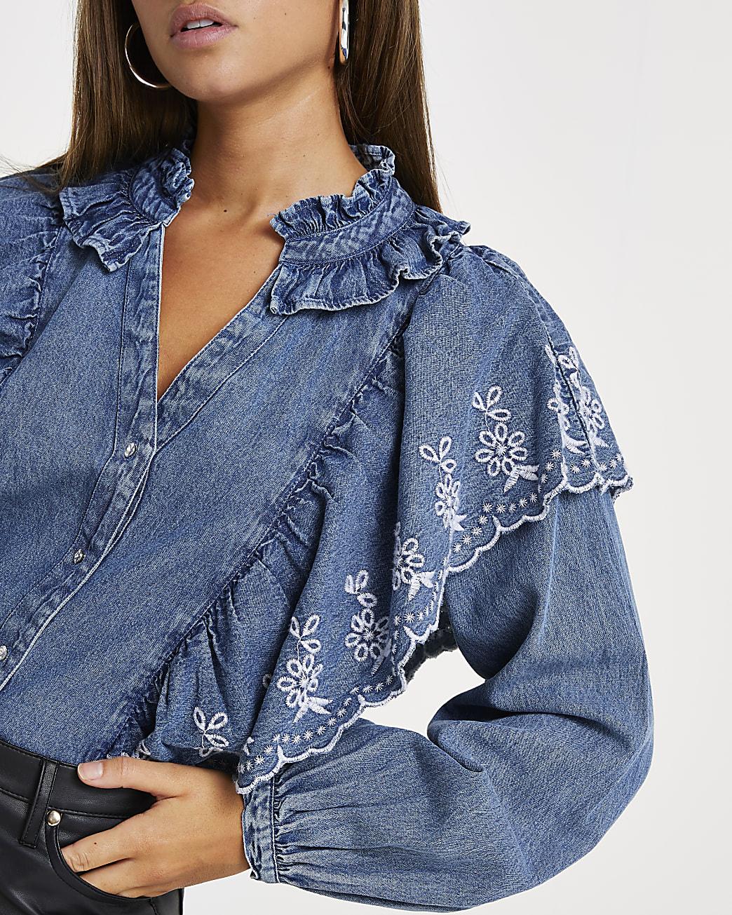 Denim long sleeve denim frill blouse