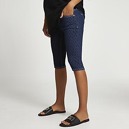 Denim maternity cycling shorts