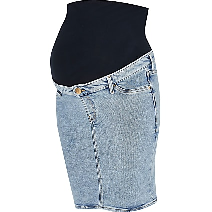 Denim maternity pencil skirt
