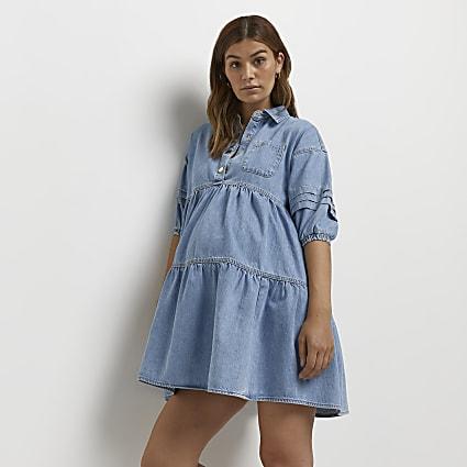 Denim maternity smock dress
