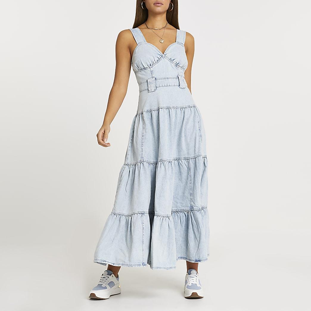 Denim maxi smock dress