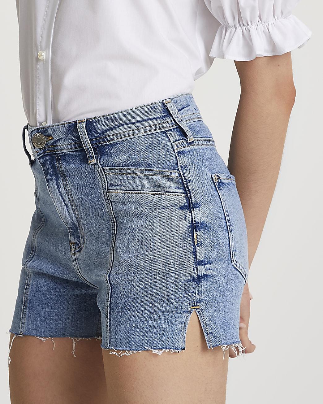Denim mid rise hotpant shorts